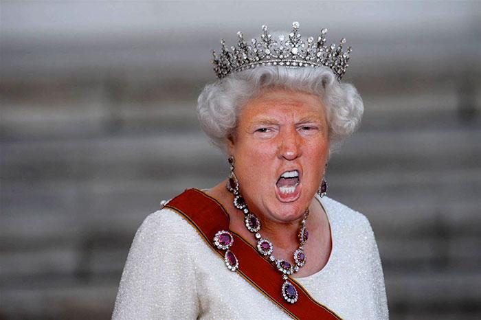 Шедевры фотошопа —  как вам Дональд Трамп в виде королевы Великобритании?