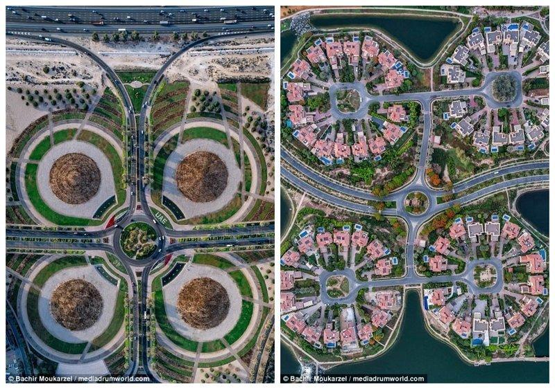 """Слева - Dubai Silicon Oasis (Кремниевый Оазис Дубая) - центр инноваций и передовых электронных технологий. Справа - еще один снимок с уникальной перспективой из фотопроекта """"Город золота"""" Дубай фото, аэросъемка, дрон, дубай, дубай достопримечательности, квадрокоптер, с высоты птичьего полета, снимки с дрона"""