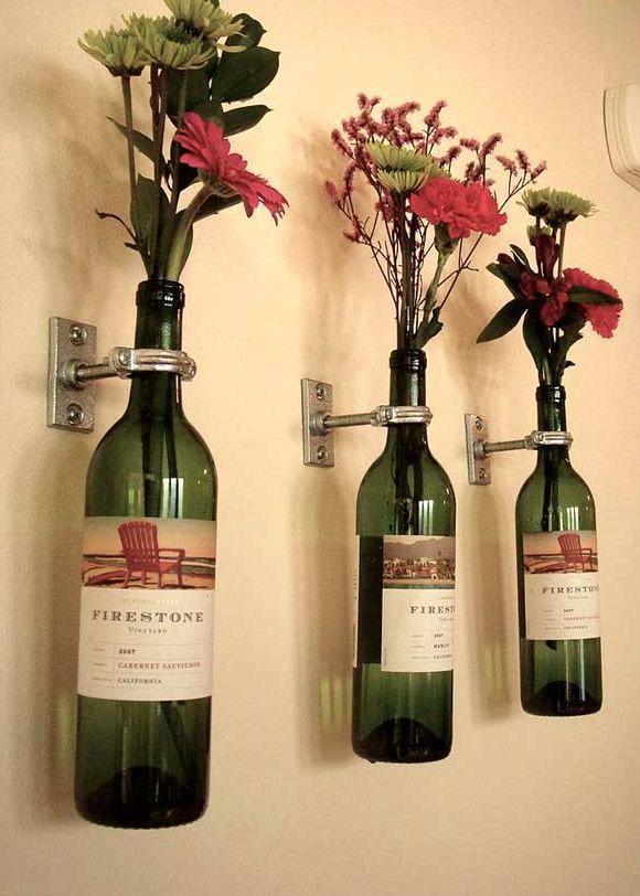 Как сделать вазу из бутылки от вина