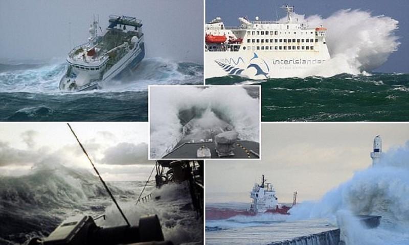 Шокирующие снимки кораблей, захваченных бурей (23 фото)