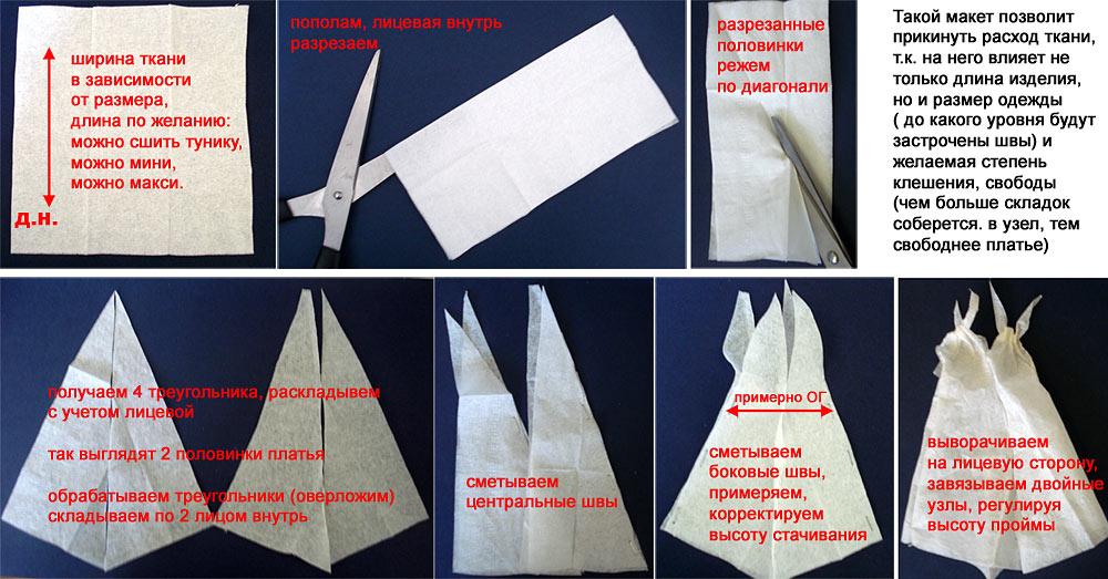 Замечательная находка: сарафан из 4-х треугольников с  выкройкой: подходит всем!