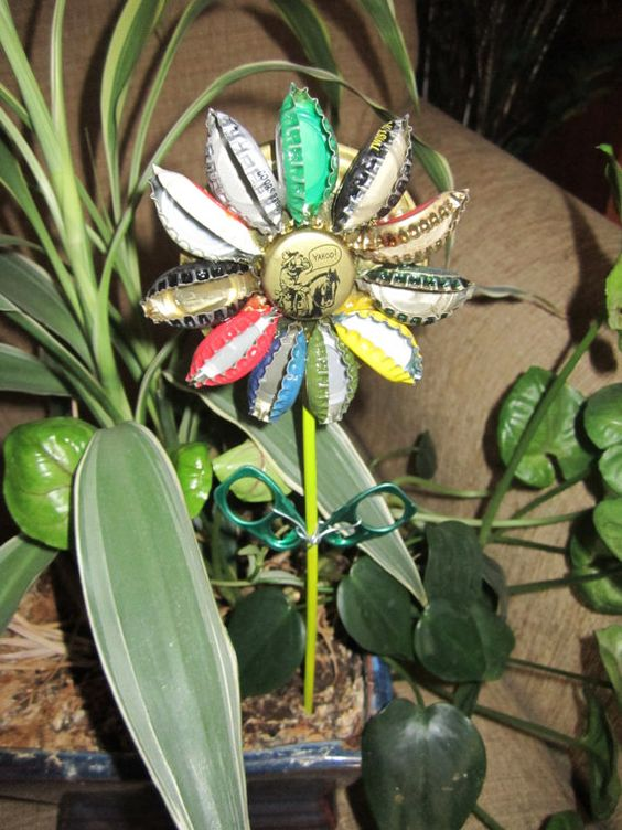 Bottle Cap flower garden stakes. $15.00, via Etsy.: