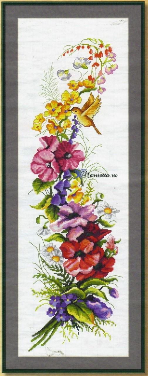Схемы вышивки для создания декоративного панно — Летний букет с птичкой