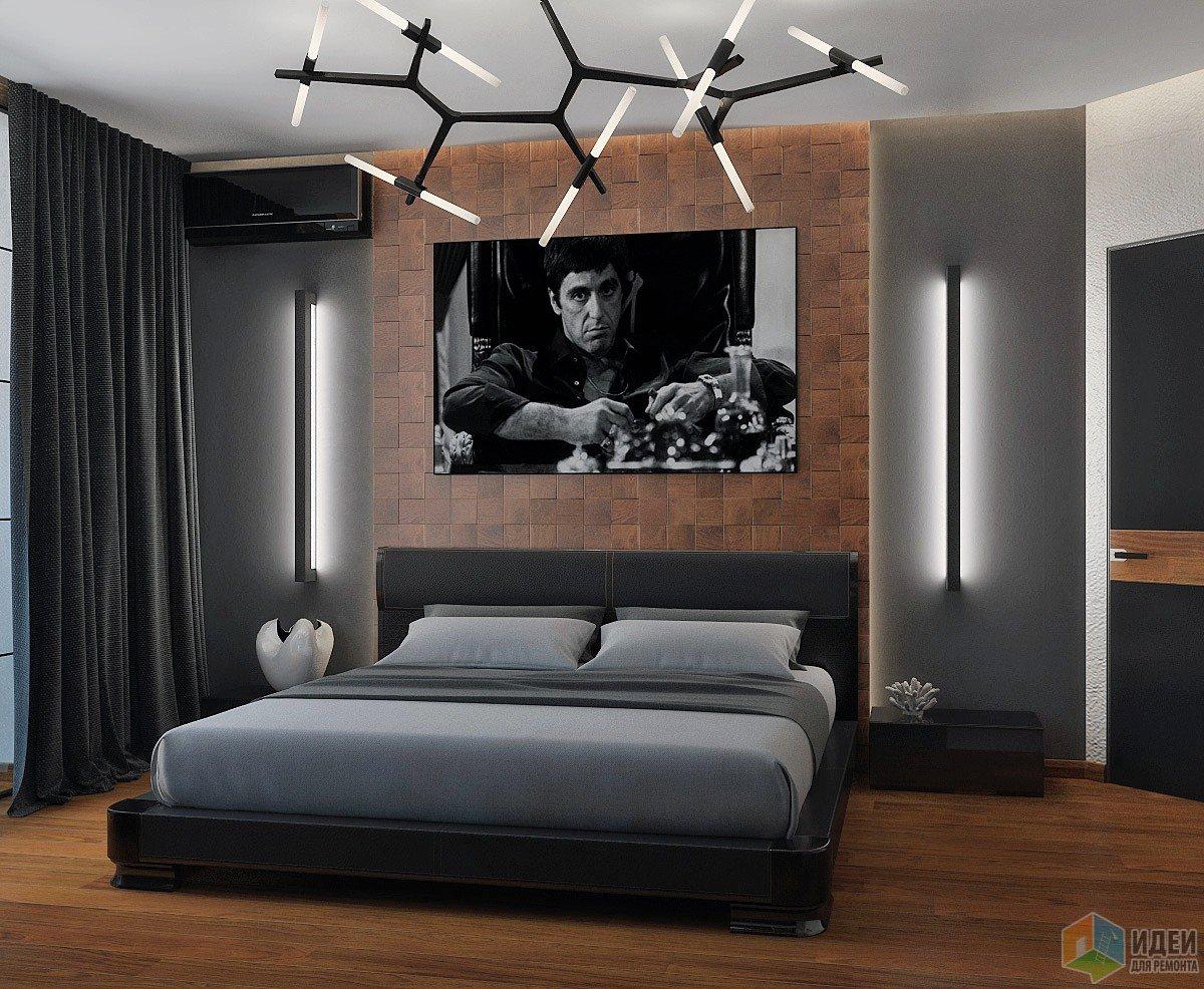 """Дизайн спальни: Деревянные вливания в """"черно-белое кино"""""""