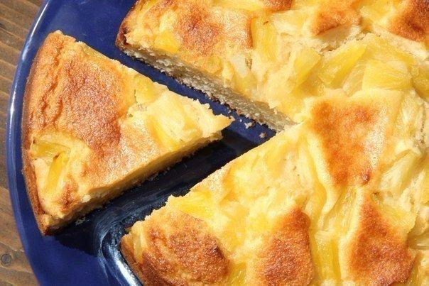 Простой и очень вкусный творожный пирог с ананасами: ароматный и воздушный