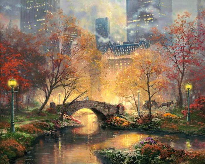 Золотая осень. Автор: Thomas Kinkade.