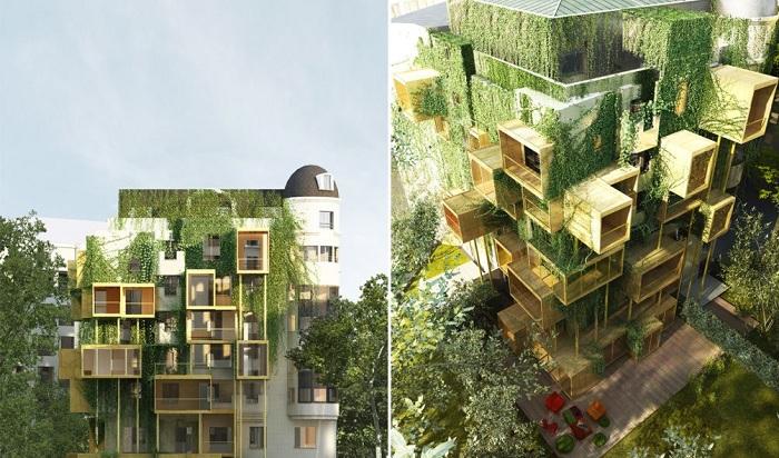 Из-за отсутствия свободного места в Париже теперь строят дома друг на друге