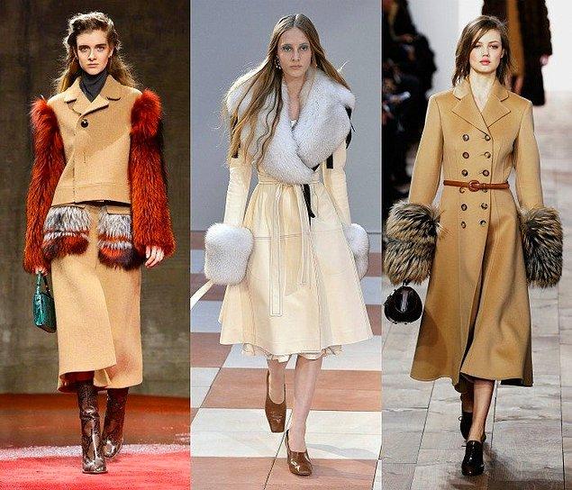 Пальто с меховыми рукавами и воротником