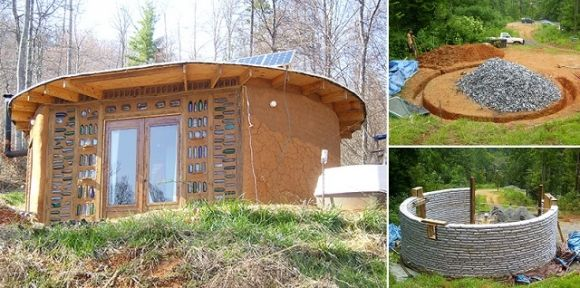 Дом из мешков с землей круглой формы