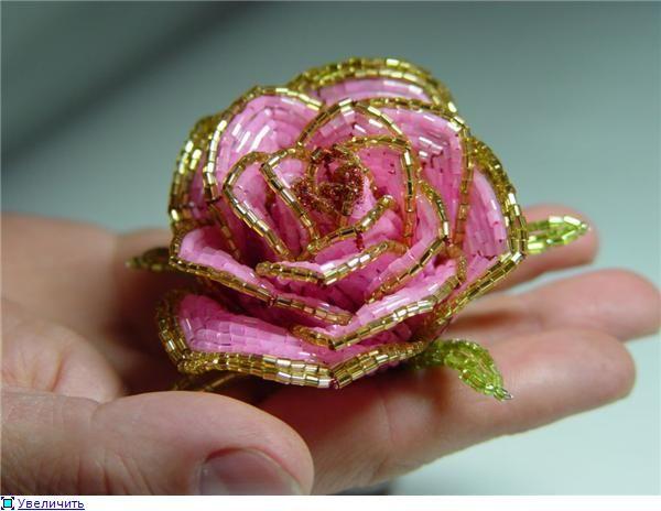 Большая роза из бисера: мастер-класс по плетению