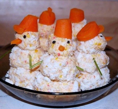 Закуска «Крабовые снеговики»