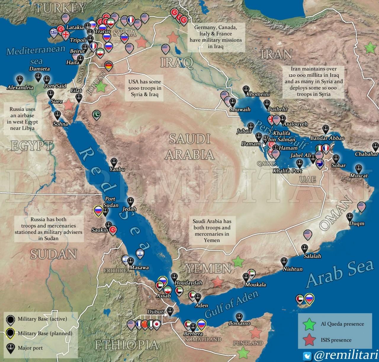 Военные базы на Ближнем Востоке
