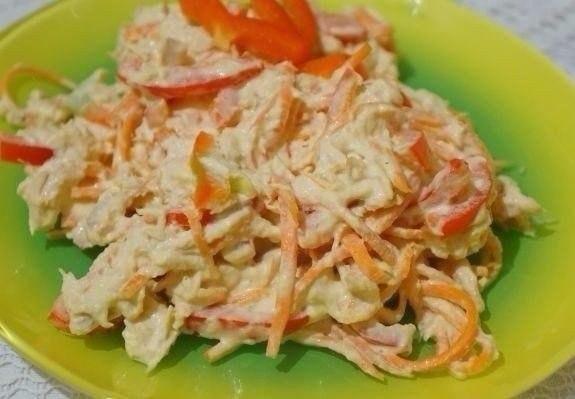 Пикантный салат с курицей и морковью по-корейски