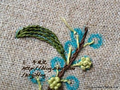 Объемная вышивка. Ромашки, одуванчики, хризантемы и мимоза (16) (460x345, 136Kb)