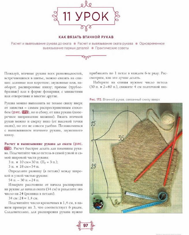 Азбука вязания. Урок № 10 и № 11. Проймы, плечи, втачной рукав