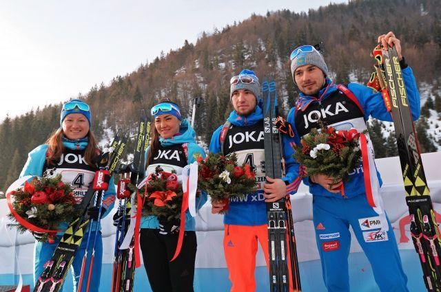Россия завоевала бронзу в смешанной эстафете на ЧМ по биатлону