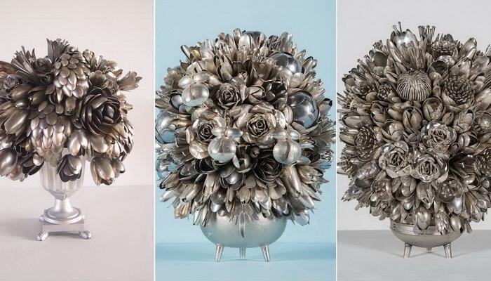 Цветы из ложек: фантастические композиции из столовых приборов