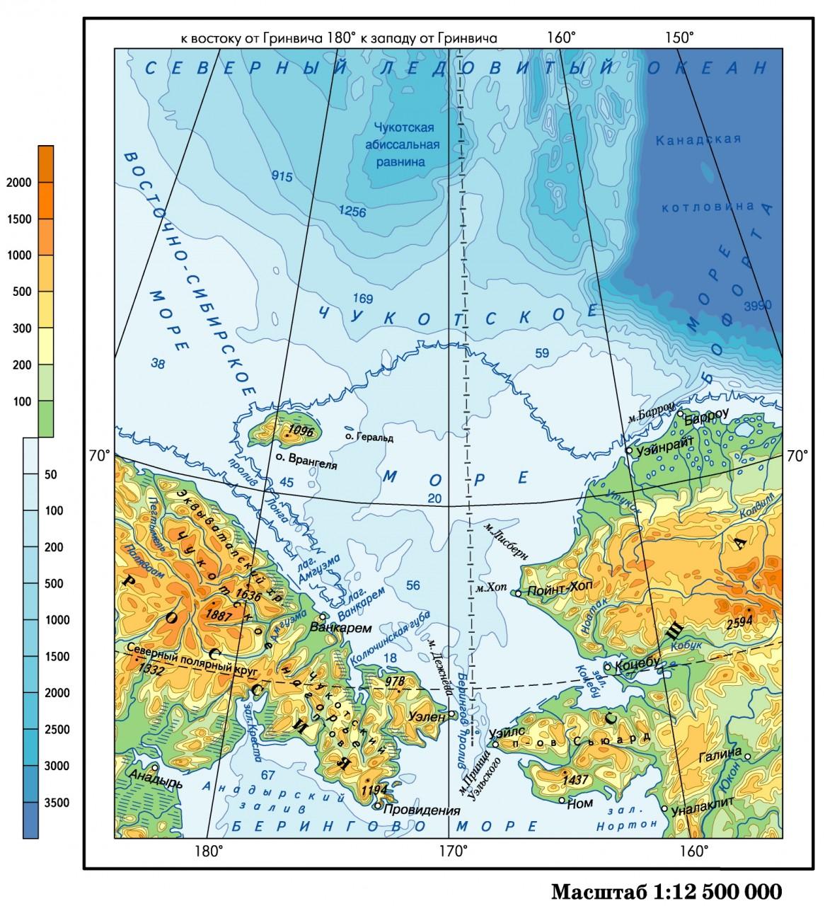 Где на карте находится море чукотское