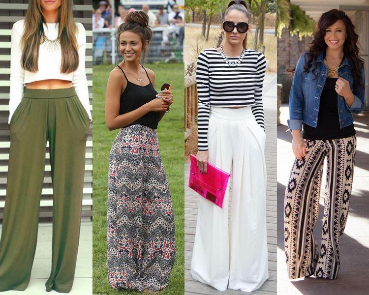 Широкие брюки палаццо: с чем носить и модели 2017