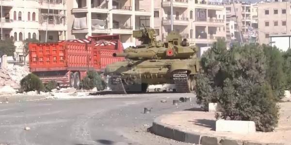 Боевая работа танка Т-90А сирийской армии изнутри (видео)