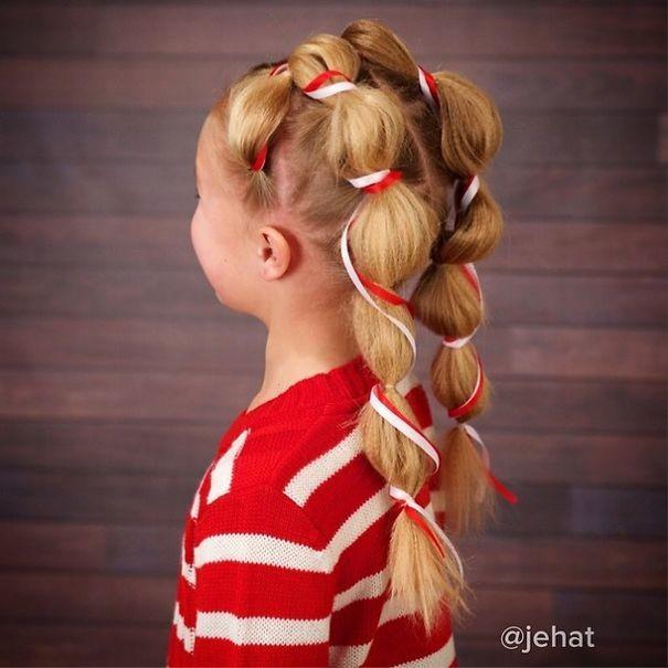 31. Карамельные трости волосы, праздник, прическа, рождество