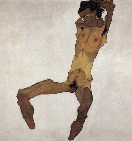 Автопортрет в виде сидящего обнажённого, 1910