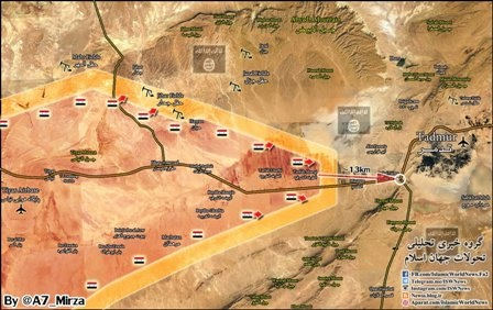 Передовые подразделения сирийской армии находятся в15км отПальмиры