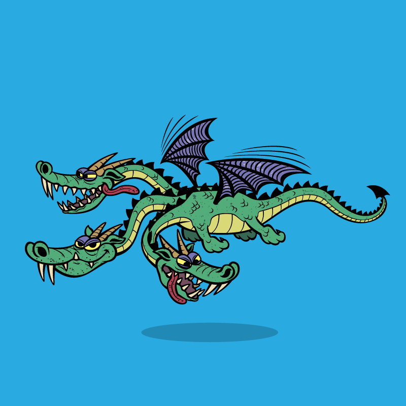 Сказочный анекдот про вежливого Змея Горыныча итрёх злых богатырей