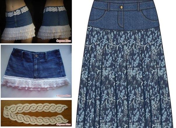 Как из джинсов сделать юбку своими руками фото