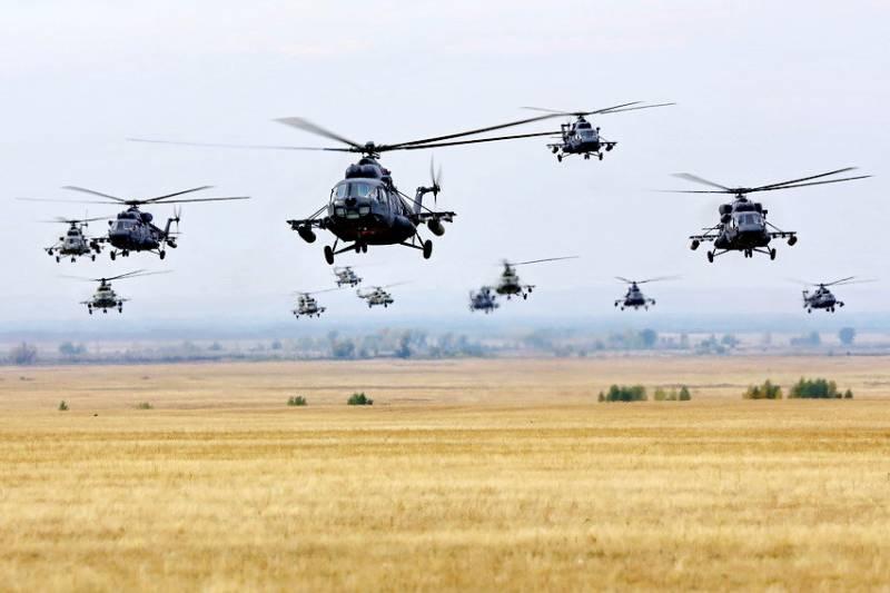 Десятки боевых вертолетов взмыли в небо в Южном военном округе