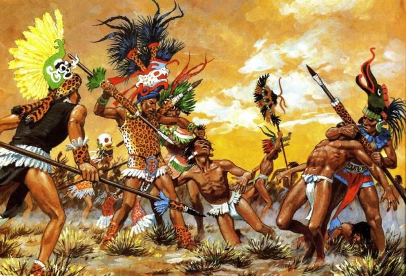 Мексиканские воины-орлы и воины-ягуары против испанских конкистадоров. (1,2)