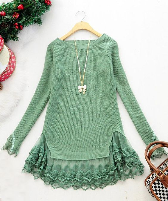 Green long sleeve contrast lace pullovers sweater>> Must look super cute with leggings!: