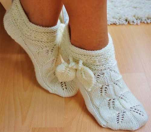 носочки-тапочки с листочками