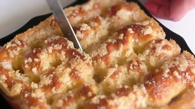 """Пирог """"Сахарный"""" со сливками - рецепт пошаговый"""