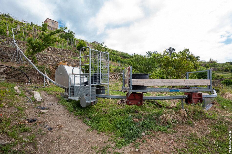 20. Рельсовая система для транспортировки винограда. Это не «колхоз», а вполне себе коммерческий продукт.