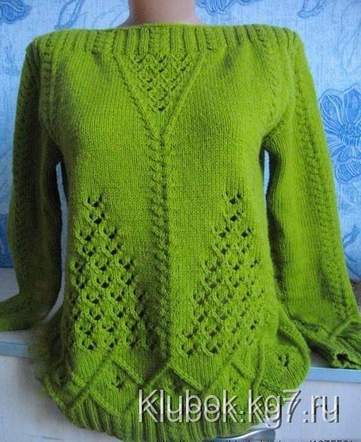 узорчатый пуловер спицами работа светланы заец