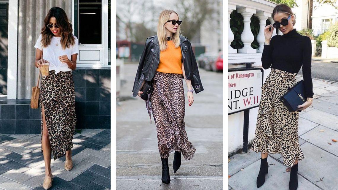 Модные миксы с леопардовой юбкой