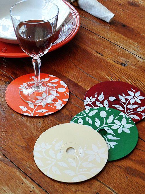 Подставки под чашки из старых компакт-дисков диск, своими руками, сделай сам