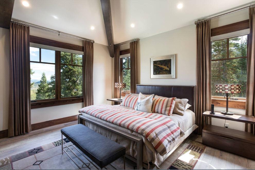 Темные и плотные шторы для спальни