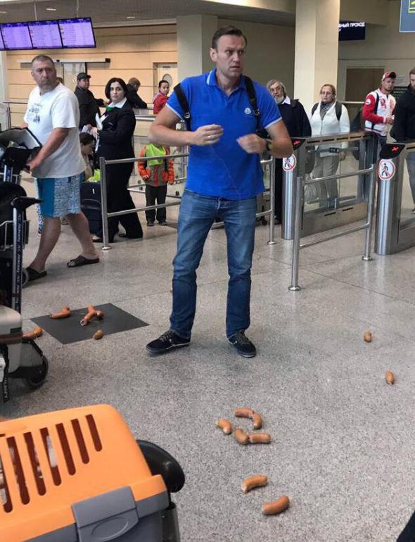 Навальный получил «корзинку с колбаской от Сечина»