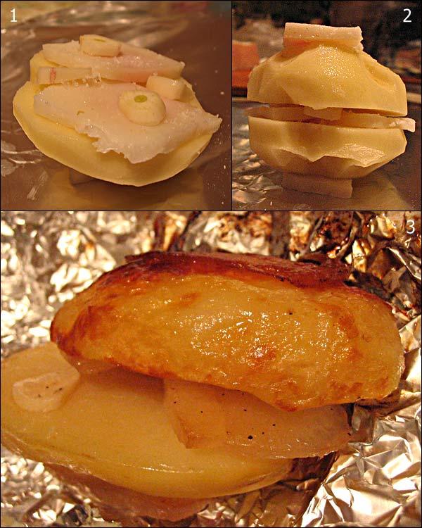 Необыкновенно вкусная печеная картошка с салом в фольге