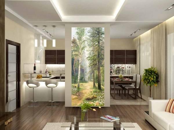 Красивые фотообои в интерьере кухни - лес, природа
