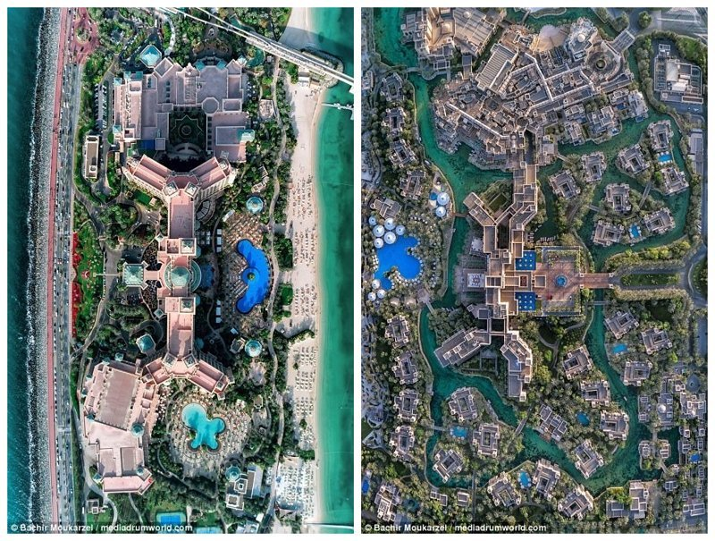 Слева - курортный комплекс Atlantis the Palm (на искусственном острове Пальма Джумейра), справа - элитный курорт Мадинат Джумейра Дубай фото, аэросъемка, дрон, дубай, дубай достопримечательности, квадрокоптер, с высоты птичьего полета, снимки с дрона