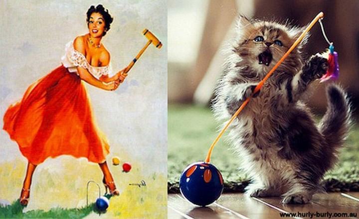 pinupcats21 Кошки и девушки в стиле пинап