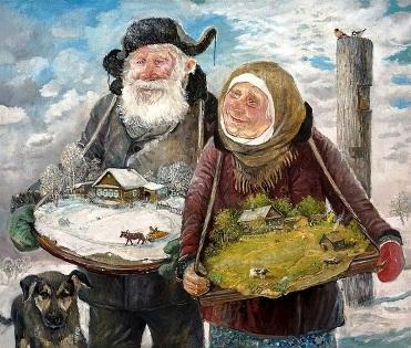 Счастливые бабушки и дедушки — подборка душевных картин Леонида Баранова