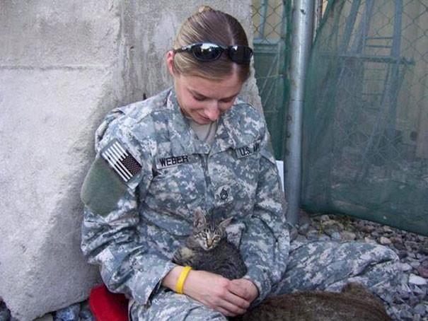 Женщина-солдат отказалась покидать Афганистан без больной кошки