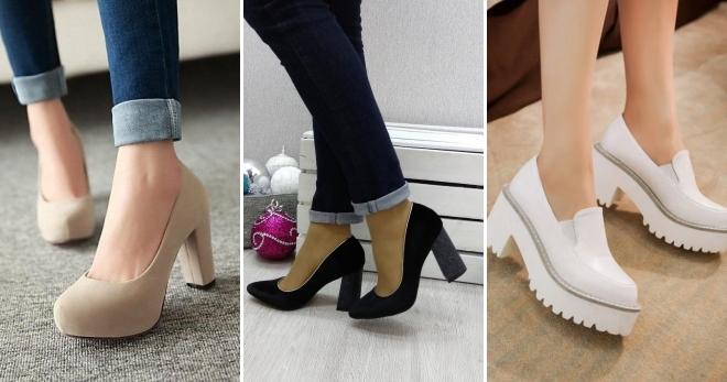 Красивые женские туфли на толстом каблуке – лодочки, черные, белые ... 4c5a9038120