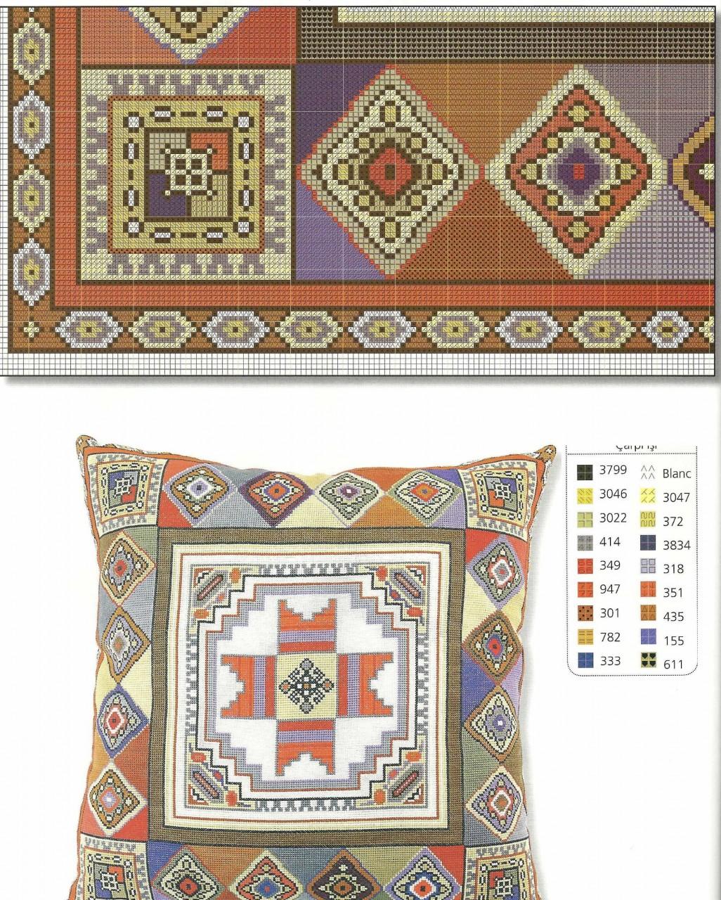 Подушки в восточном стиле - вышивка крестом схема 7