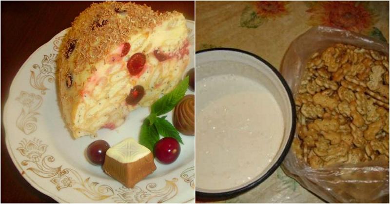 сметанный торт без выпечки с желатином