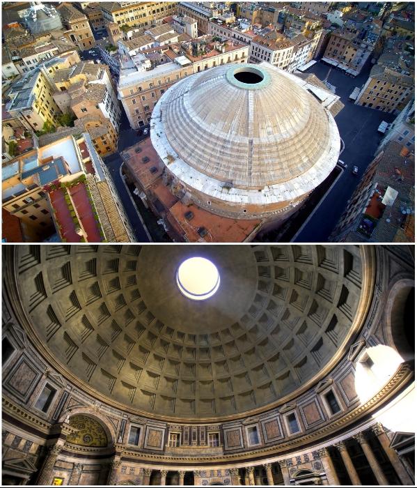 Полусферический купол Пантеона является удивительной загадкой и самым большим в мире неармированным перекрытием.   Фото: planetofhotels.com.